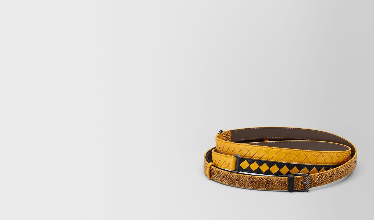 ceinture à carreaux intrecciato nero/jaune sunset landing