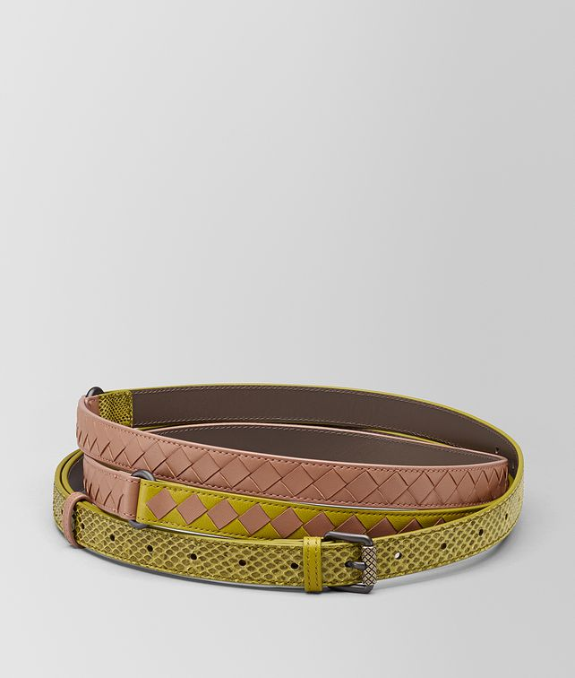 BOTTEGA VENETA CHAMOMILE/DAHLIA INTRECCIATO CHECK BELT Belt Woman fp