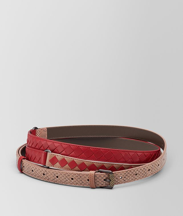 BOTTEGA VENETA DAHLIA/CHINA RED INTRECCIATO CHECK BELT Belt [*** pickupInStoreShipping_info ***] fp