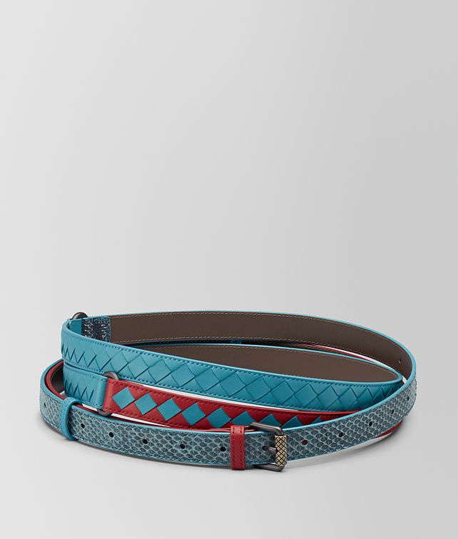 BOTTEGA VENETA CEINTURE À CARREAUX INTRECCIATO CHINA RED/AQUA Ceinture [*** pickupInStoreShipping_info ***] fp