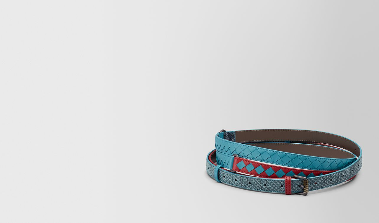 china red/aqua intrecciato check belt landing