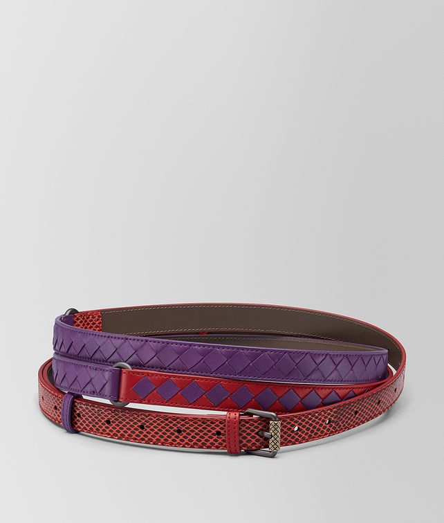 BOTTEGA VENETA CHINA RED/MONALISA INTRECCIATO CHECK BELT Belt [*** pickupInStoreShipping_info ***] fp