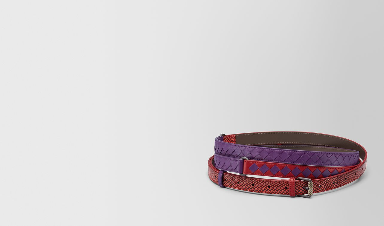 china red/monalisa intrecciato check belt landing