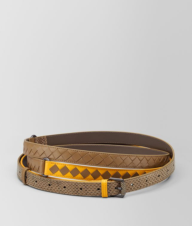 BOTTEGA VENETA SUNSET/CAMEL INTRECCIATO CHECK BELT Belt [*** pickupInStoreShipping_info ***] fp