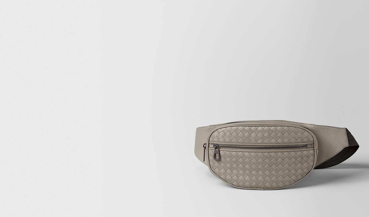 dark cement intrecciato vn belt bag landing