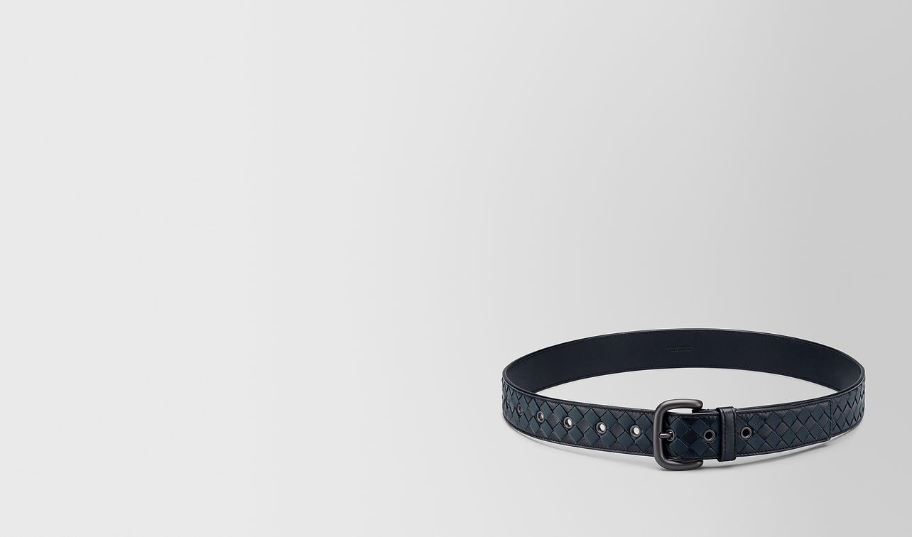 tourmaline/denim intrecciato checker nappa belt landing