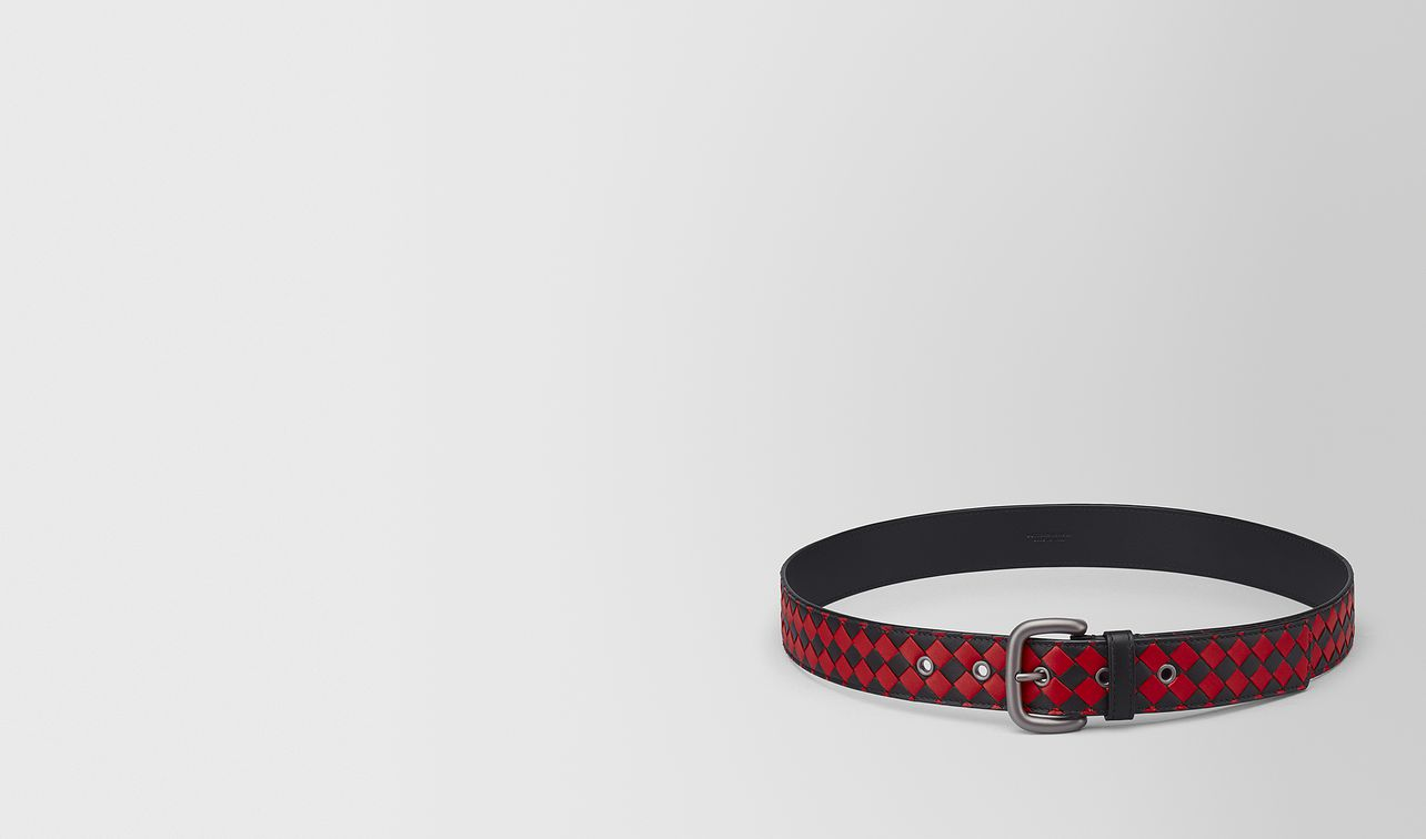 nero/china red intrecciato checker nappa belt landing