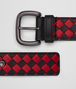 BOTTEGA VENETA NERO/CHINA RED INTRECCIATO CHECKER NAPPA BELT Belt Man rp