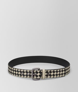 CEMENT/NERO INTRECCIATO CHECKER NAPPA BELT