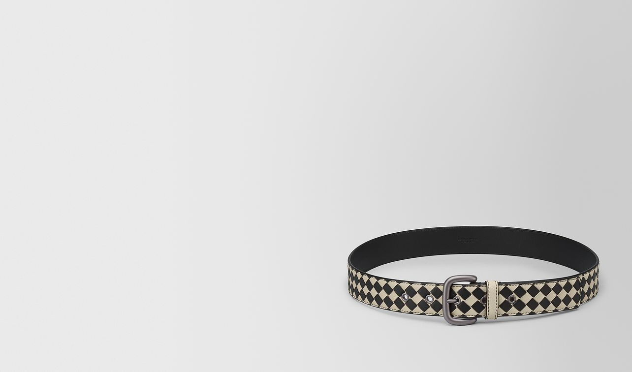 cement/nero intrecciato checker nappa belt landing