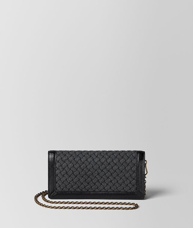 BOTTEGA VENETA METALLIC NERO INTRECCIATO KNITTED CHAIN WALLET Mini Bag and Pouche Woman fp