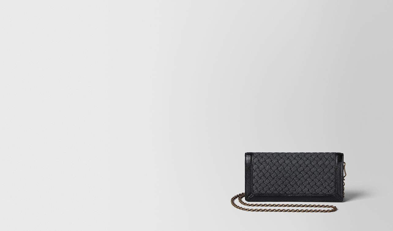metallic nero intrecciato knitted chain wallet landing