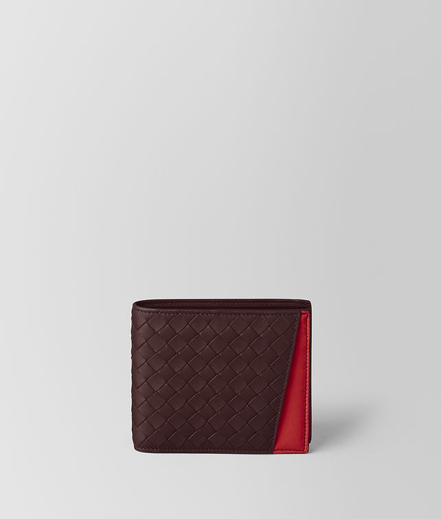 BOTTEGA VENETA DARK BAROLO/CHINA RED INTRECCIATO NAPPA MULTI-FUNCTIONAL CASE  Bi-fold Wallet Man fp
