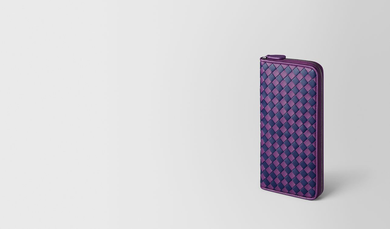 monalisa/atlantic intrecciato checker zip around wallet landing