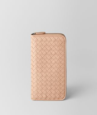 PEACH ROSE INTRECCIATO NAPPA ZIP AROUND WALLET