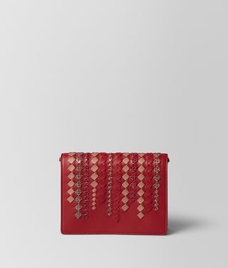 CHINA RED INTRECCIATO AYERS CHAIN WALLET
