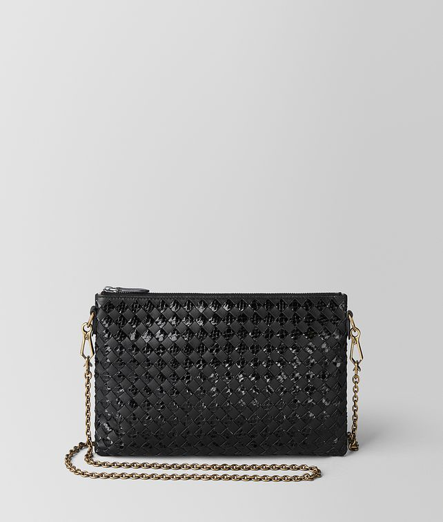 BOTTEGA VENETA NERO INTRECCIATO CHECKER/AYERS BILETTO CHAIN CHAIN WALLET [*** pickupInStoreShipping_info ***] fp