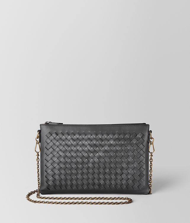 BOTTEGA VENETA ANTIQUE SILVER INTRECCIATO NAPPA BILETTO CHAIN CHAIN WALLET [*** pickupInStoreShipping_info ***] fp