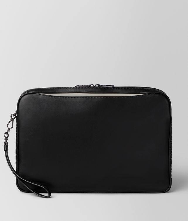 BOTTEGA VENETA NERO/CEMENT BUTTER CALF SMALL SOFTDOC Document case [*** pickupInStoreShippingNotGuaranteed_info ***] fp