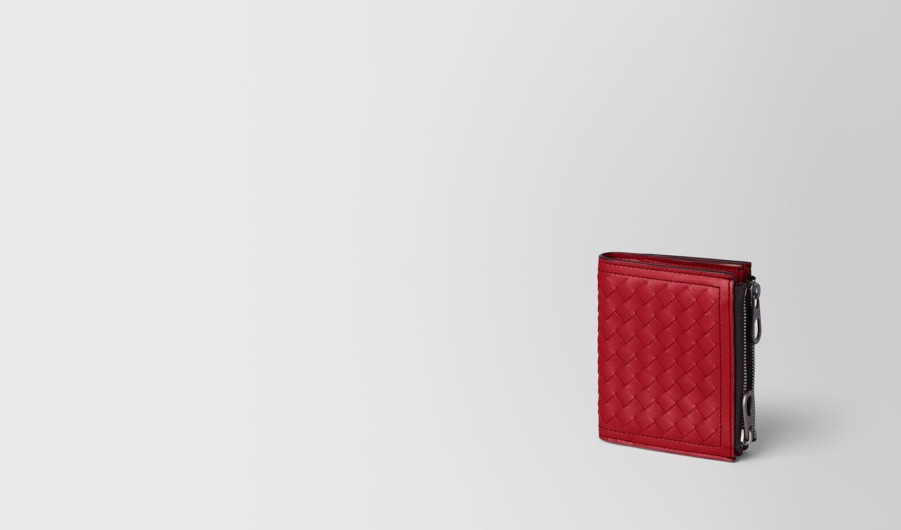 china red intrecciato calf wallet landing