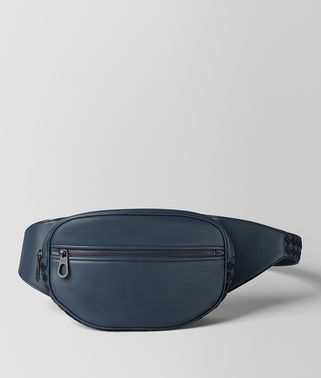 DENIM/TOURMALINE CALF INTRECCIATO CHECKER BELT BAG