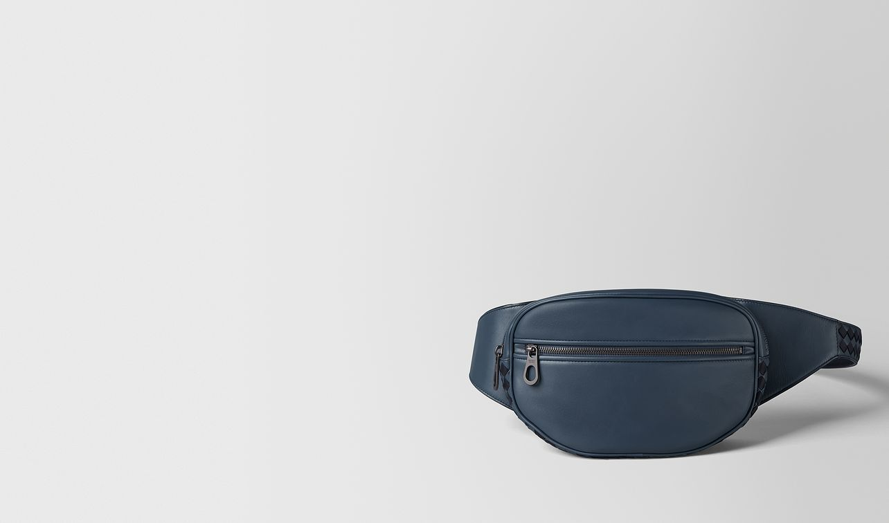 denim/tourmaline calf intrecciato checker belt bag landing