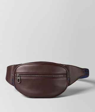 DARK BAROLO/ATLANTIC CALF INTRECCIATO CHECKER BELT BAG