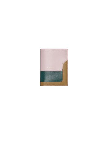 Marni Saffiano leather bi-fold wallet pink green and beige Woman