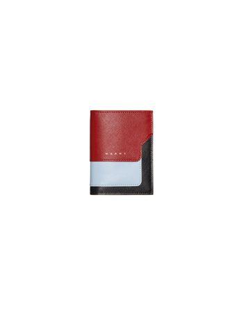 Marni Saffiano leather bi-fold wallet black burgundy and pale blue Woman