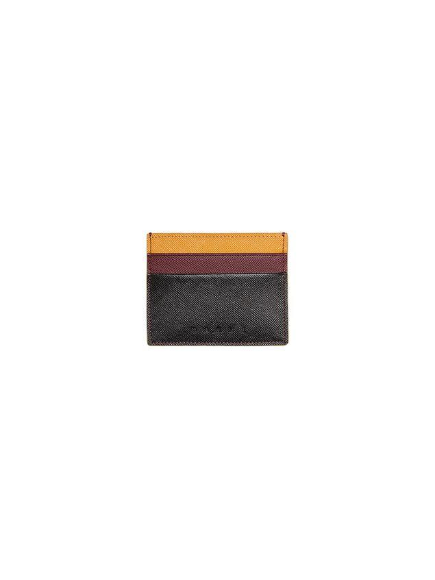 Marni Credit card case in Saffiano calfskin black burgundy yellow Man