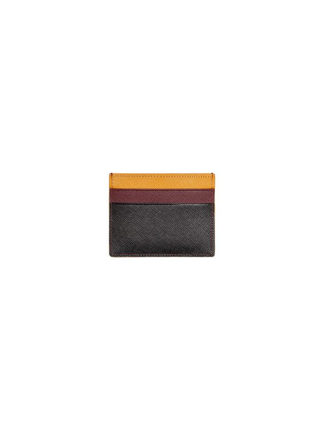 Marni Credit card holder in black burgundy yellow Saffiano calfskin Man - 1
