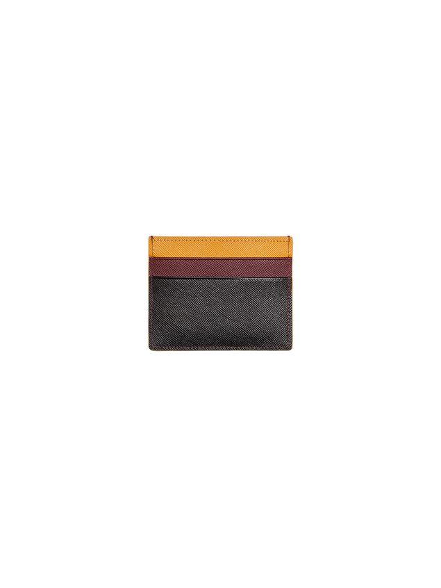 Marni Credit card case in Saffiano calfskin black burgundy yellow Man - 1