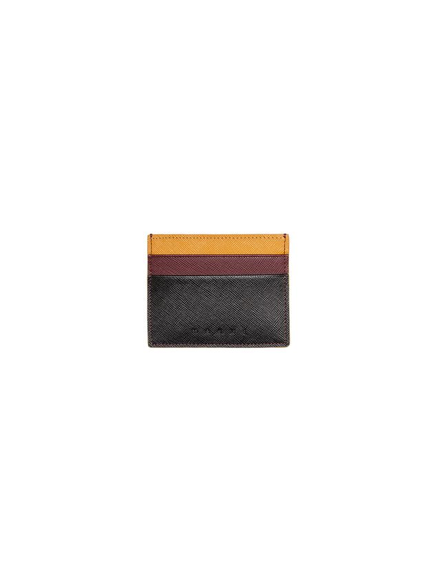 Marni Credit card holder in black burgundy yellow Saffiano calfskin Man - 3