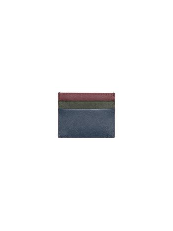 Marni Credit card case in Saffiano calfskin blue green burgundy Man f