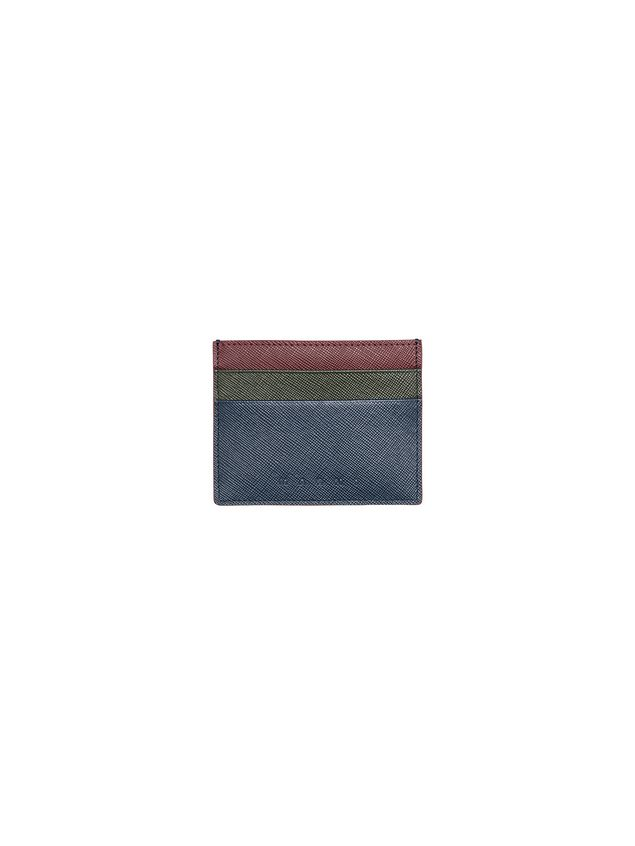 Marni Credit card case in Saffiano calfskin blue green burgundy Man