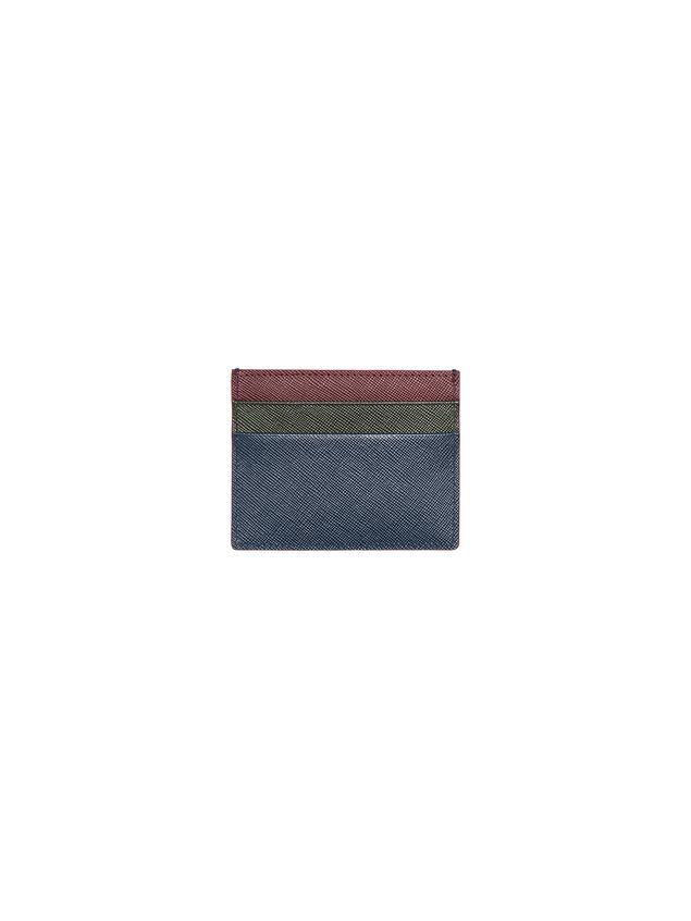 Marni Credit card holder in blue, green and burgundy Saffiano calfskin Man - 1