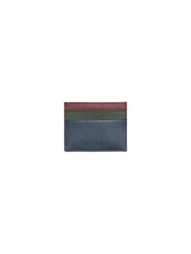 Marni Credit card holder in blue, green and burgundy Saffiano calfskin Man - 3