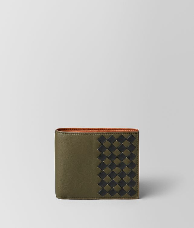 BOTTEGA VENETA MUSTARD/NERO INTRECCIATO CHECKER WALLET Bi-fold Wallet [*** pickupInStoreShippingNotGuaranteed_info ***] fp