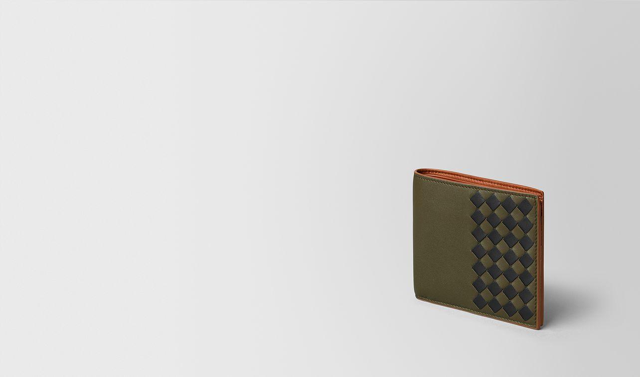 portemonnaie aus intrecciato checker in mustard nero landing