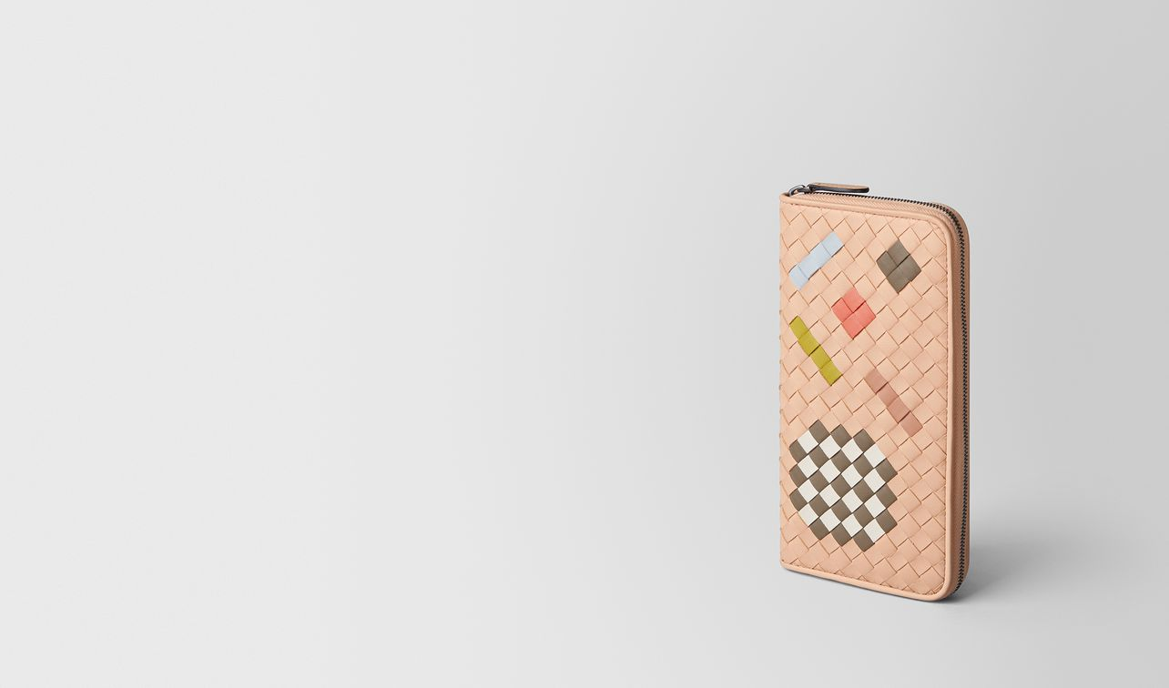 peach rose intrecciato abstract zip around wallet landing