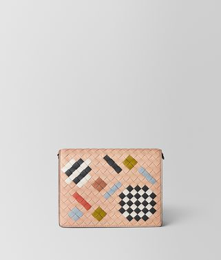 PEACH ROSE INTRECCIATO ABSTRACT CHAIN WALLET