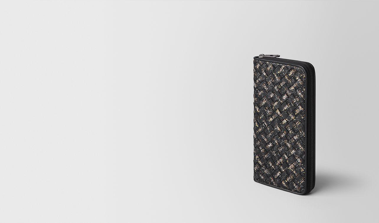 mehrfarbiges portemonnaie mit zip aus intrecciato microdots landing
