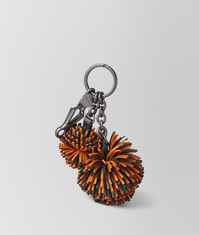 BOTTEGA VENETA ORANGE/NERO NAPPA POMPOM Keyring or Bracelets E fp