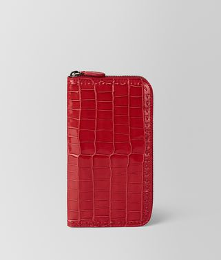 CHINA RED CROCODILE ZIP AROUND WALLET
