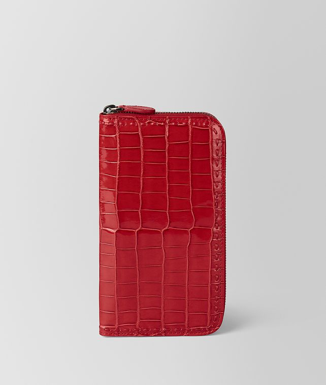 BOTTEGA VENETA CHINA RED CROCODILE ZIP AROUND WALLET Zip Around Wallet [*** pickupInStoreShipping_info ***] fp