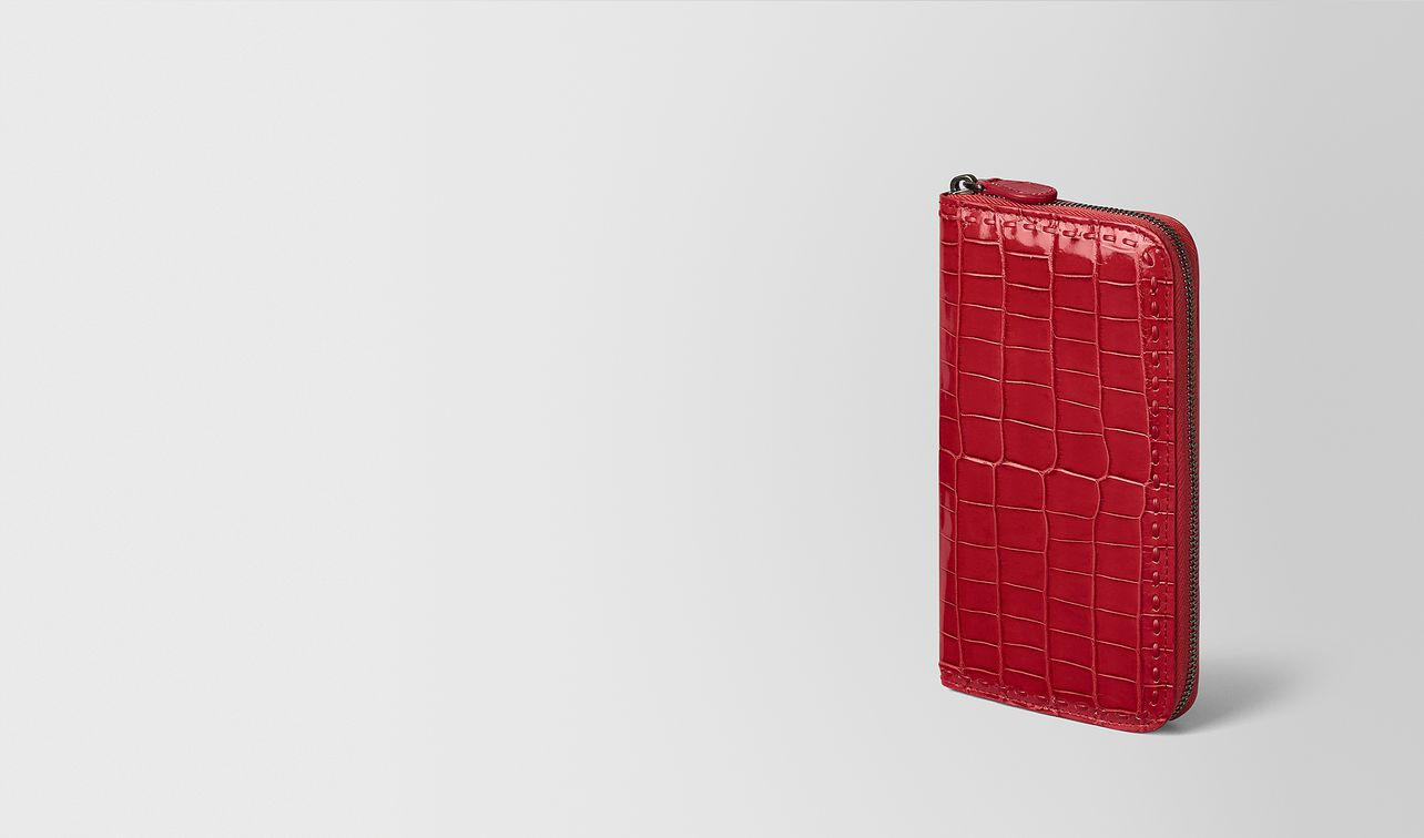 china red crocodile zip around wallet landing