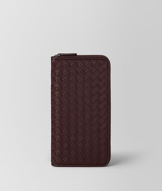 DARK BAROLO INTRECCIATO NAPPA ZIP AROUND WALLET