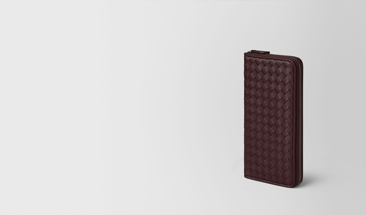 dark barolo intrecciato nappa zip around wallet landing