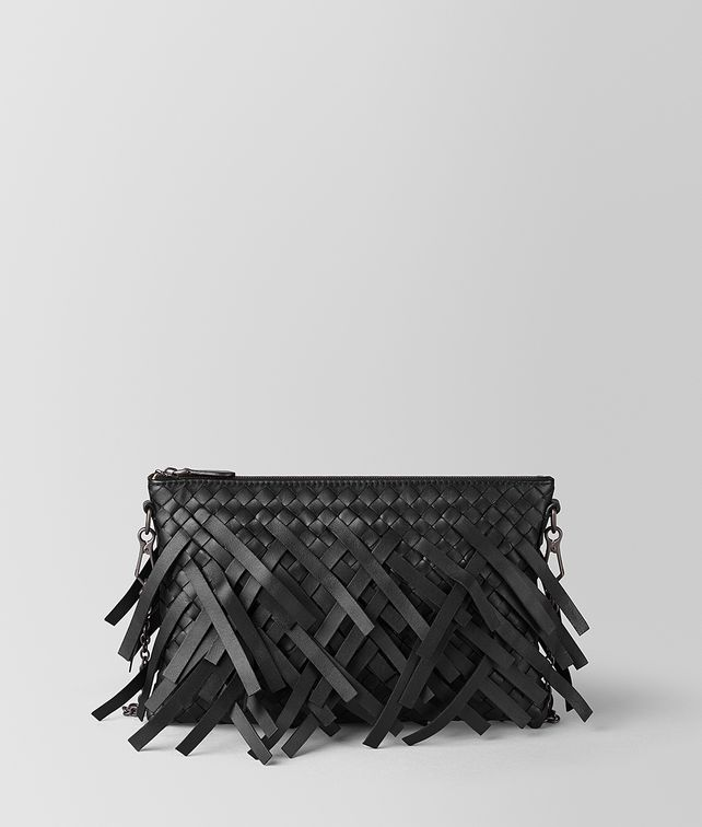 BOTTEGA VENETA NERO INTRECCIATO FRINGE BILETTO CHAIN CHAIN WALLET [*** pickupInStoreShipping_info ***] fp