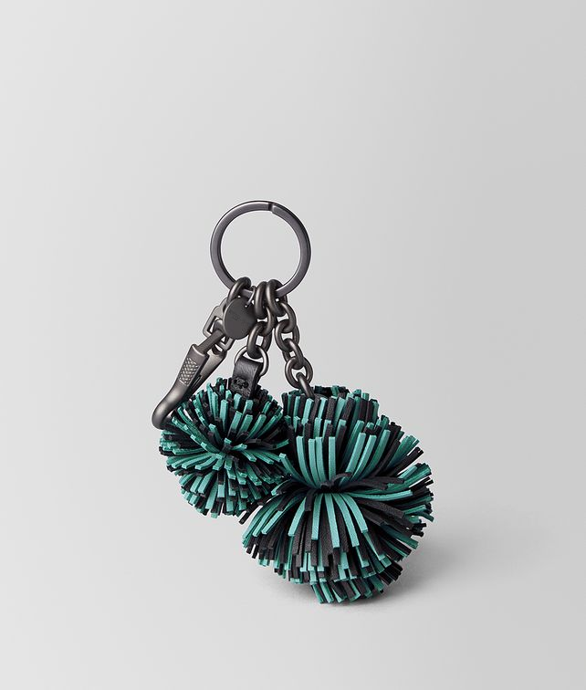 BOTTEGA VENETA AQUA/NERO NAPPA POMPOM Keyring or Bracelets E fp